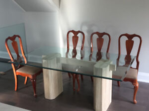 CLASSIC Glass top and Marble base Dining Table