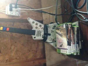 Xbox 360 w/ About 40 Games + 3 Controllers + RB Guitar and Drums St. John's Newfoundland image 3