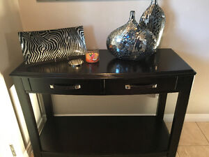 Dark brown wood accent table