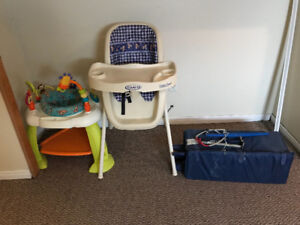 High chairs &walker & playpen & kids table with 2 chairs
