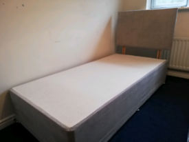 Single Divan Bed, Headboard and Mattress
