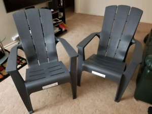 Hard Plastic Lawn/Patio Chairs - Grey