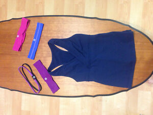 LULULEMON navy tank and headbands