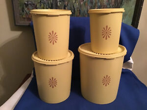 1970's Yellow Tupperware Canisters Set of 4