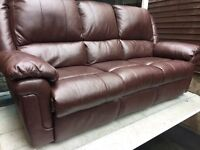 Brown faux leather modern 3 seater sofa