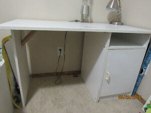 White DESK With Storage shelves