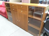 FURTHER REDUCTION!! Sideboard With Shelves, Glass Doors & Drawers - Can Deliver For £19