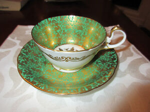 Stunning Aynsley Green and Gold up and Saucer MINT
