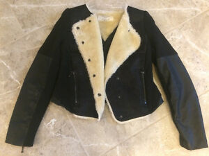 ZARA Leather Jacket with white fake Fur