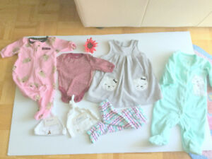 Baby Girl (0-3 m.) Dress, Pants, Jumpers (5 pc.) (Free Hats)