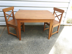 """Ikea """"Leksvik"""" Children's Table With 2 Chairs"""