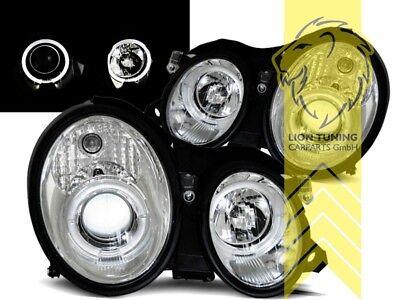 LED Angel Eyes Scheinwerfer für Mercedes Benz CLK C208 Coupe A208 Cabrio chrom
