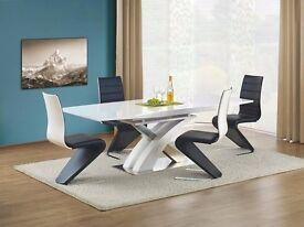"""RAUL"" 160 cm White High Gloss Modern Extended Dining Table"