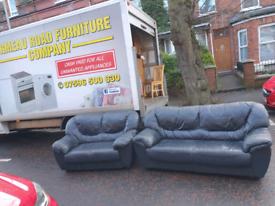 8. 3+2 Black leather sofa