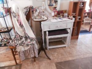 Wicker Desk/Vanity with Stool at KeepSakes Antiques Shoppe