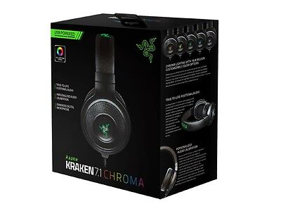Razer Kraken 7.1 V2 Chroma Surround Sound USB Gaming Headset for PC PS4 Black
