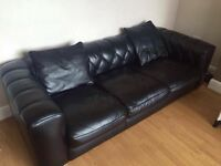 Three seater leather couch and single chair