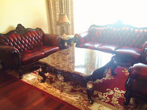 Cattlehide leather sofa (2 couches+1 armchair)