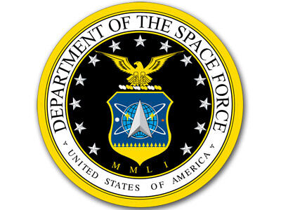 4x4 inch ROUND Department of the Space Force Sticker - trump new nasa military