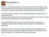 Carpet and vinyl fitter 25 years experience