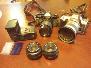 Yashica FX 3 / Minolta XTsi plus lenses, flash