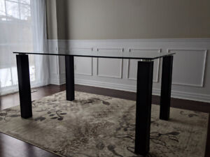 Glass Top Dining Table with Chrome Accents
