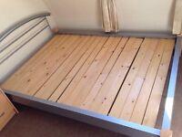 Double Bed - metal frame / wood slats