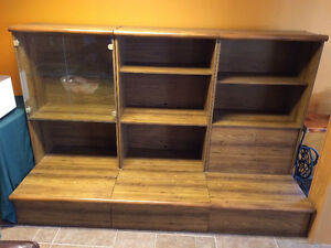 Bookcase shelving and storage three section cabinet