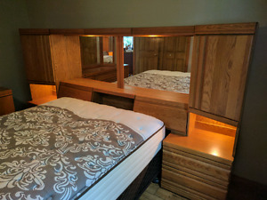 Queen size hard wood bedroom set