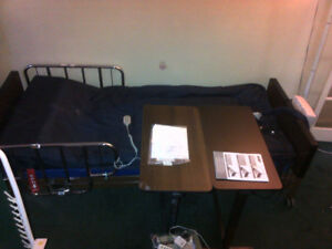 Electric Hospital bed, 2 Drive air mattresses, 2 Overbed tables