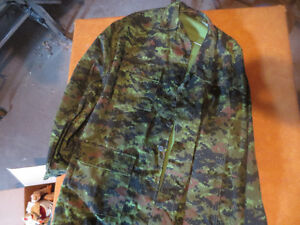 digital camouflage green jacket and t shirt