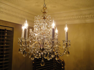 Antique French Bronze Crystal Chandelier C 1920s