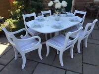 Vintage Extending Dining Table & 6 Chairs ~ Grey & Lilac ~ 2 Carver Chairs ~ Shabby Chic