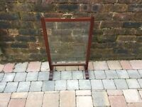 Old Mahogany Wooden Fire Screen With Glass Insert - Can Deliver