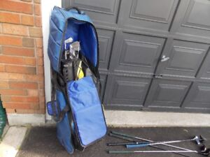 Jack Nicklaus golf clubs, woods, bag and travel case.