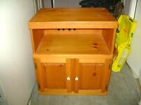 OLD SOLID PINE WOOD TV CABINET