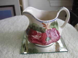 CHARMING OLD VINTAGE SOLIAN WARE POTTERY CREAM PITCHER