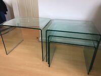 Dwell glass table set - nest of 3 + 1 single