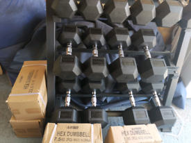 Hex dumbbells and rack 385kg - individual pairs available