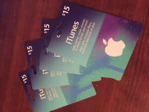 $15 dollar iTunes gift cards (4)
