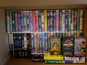 Box of VHS tape w/VCR