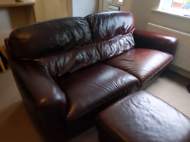 Real Italian Leather sofa with foot rest/pouffe. Large sofa - 3 seat