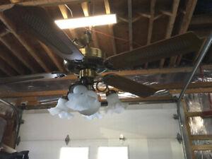 Lustre Ventilateur de plafond couleur laiton