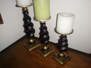 3 Baroque Style Candlesticks with Candles