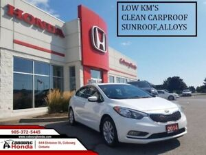 2014 Kia Forte LX  LOW KM'S CLEAN CARPROOF SUNROOF ALLOYS AUTO