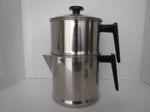 VINTAGE  CAMPING STOVE TOP COFFEE MAKER DRIP O LATOR STAINLESS