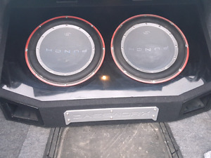 """2 12"""" Rockford subs in ported box"""