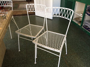 Eight Outdoor Chairs Painted White