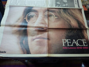 PEACE-John Lennon Special Tribute Sectional Of Toronto Star