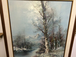 Beautiful Oil On Canvas Early Winter Scene London Ontario image 4